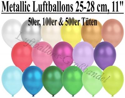 25-28 cm Latexballons, Metallic Rundballons