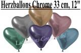 Chrome Latexballons, 33 cm Herzballons