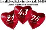 Luftballons Folie, Geburtstag Jumbo Herzen 14-100