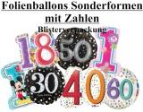 Luftballons Folie, Geburtstag Sonderformen Zahlen