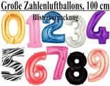 Große Zahlen, Folienballons Zahlen 100 cm
