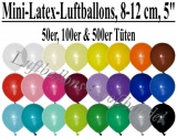 "8-12 cm Latexballons, Rundballons, 5"""