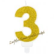 Kerze Zahl 3 Gold Glitter