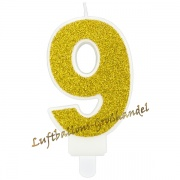 Kerze Zahl 9 Gold Glitter