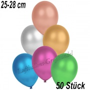 Latexballons, 25-28 cm cm, Metallic, Bunt gemischt, 50 Stück