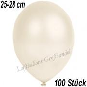 Latexballons, 25-28 cm cm, Metallic, Elfenbein, 100 Stück