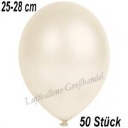 Latexballons, 25-28 cm cm, Metallic, Elfenbein, 50 Stück