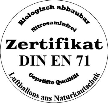 Zertifikat Luftballons aus Naturkautschuklatex, biologisch abbaubar