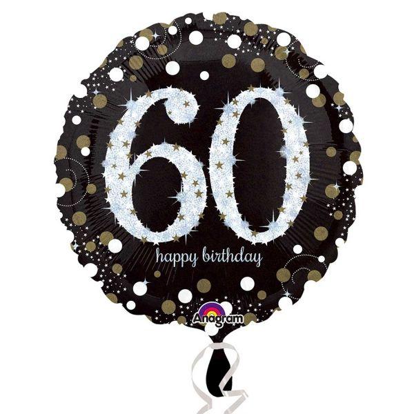 Folien Luftballon Sparkling Celebration Birthday 60, Geburtstag 60, 5 Stück