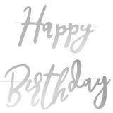 Banner, Happy Birthday, silber, 62 cm