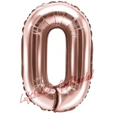 Mini-Folienballon Rosegold, Zahl 0