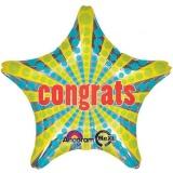 Folien-Luftballon Congrats, Stern, Jumbo, 5 Stück