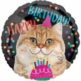 Folien-Luftballon Happy Birthday Cat, Geburtstag, 5 Stück
