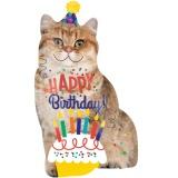 Folien-Luftballon Happy Birthday Katze, Shape, 5 Stück