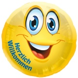 Folien-Luftballon Smiley, Herzlich Willkommen, 5 Stück