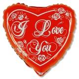 Luftballon, Folienballon, I love you, herz, 45 cm, 10 Stück