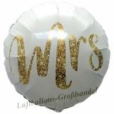 Luftballon Hochzeit, Mrs Gold Glimmer, 5 Stück