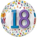 Folien-Luftballon Birthday Rainbow 18, Orbz, 18. Geburtstag, 5 Stück