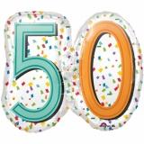 Folien-Luftballon Rainbow Birthday 50, Shape, 50. Geburtstag, 5 Stück