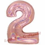 Folien-Luftballon Rose Gold Holographic, Zahl 2