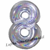Folien-Luftballon Silber Holographic, Zahl 8
