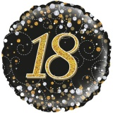 Folien-Luftballon Sparkling Fizz Birthday 18 Gold, 5 Stück