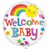 Folien-Luftballon Geburt, Welcome Baby, Happy Sun, 43 cm, 5 Stück