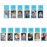 Fotogirlande zum 1. Geburtstag, blau, 3,65 m
