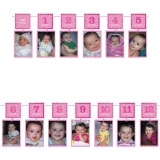 Fotogirlande zum 1. Geburtstag, rosa, 3,65 m