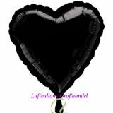"""Herzluftballon, Folie, 17"""" - 43 cm, Schwarz"""