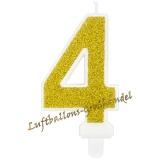 Kerze Zahl 4 Gold Glitter