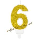 Kerze Zahl 6 Gold Glitter