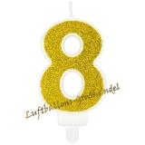 Kerze Zahl 8 Gold Glitter