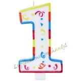 Große Kerze Zahl 1 Colorful Maxi