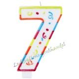 Große Kerze Zahl 7 Colorful Maxi