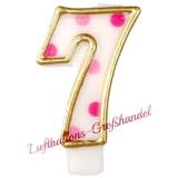 Kerze Zahl 7 Pink Dots