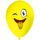 Emoji streckt Zunge raus, Gesicht, Latexballon, 28-30 cm, Gelb, 1 Stück