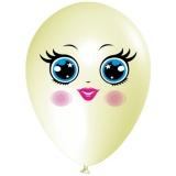 Frau mit blauen Augen, Gesicht, Latexballon, 28-30 cm, Elfenbein, 1 Stück