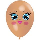 Frau mit blauen Augen, Gesicht, Latexballon, 28-30 cm, Hautfarben, 1 Stück