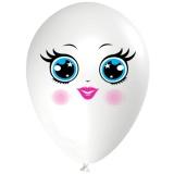 Frau mit blauen Augen, Gesicht, Latexballon, 28-30 cm, Weiß, 1 Stück