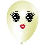 Frau mit schwarzen Augen, Gesicht, Latexballon, 28-30 cm, Elfenbein, 1 Stück