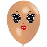 Frau mit schwarzen Augen, Gesicht, Latexballon, 28-30 cm, Hautfarben, 1 Stück