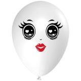 Frau mit schwarzen Augen, Gesicht, Latexballon, 28-30 cm, Weiß, 1 Stück