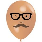 Mann mit Bart und Brille, Gesicht, Latexballon, 28-30 cm, Hautfarben, 1 Stück