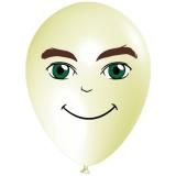 Mann mit grünen Augen, Gesicht, Latexballon, 28-30 cm, Elfenbein, 1 Stück