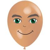 Mann mit grünen Augen, Gesicht, Latexballon, 28-30 cm, Hautfarben, 1 Stück