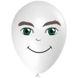 Mann mit grünen Augen, Gesicht, Latexballon, 28-30 cm, Weiß, 1 Stück