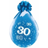Verpackungsballons, Stuffer, Zahl 30, 10 Stück, transparent