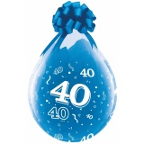 Verpackungsballons, Stuffer, Zahl 40, 10 Stück, transparent