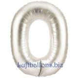 Folien-Luftballon Silber, Zahl 0